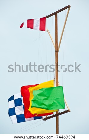 colorful flags on beach