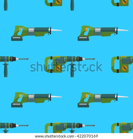 colorful flat design hammer rotary drill and reciprocating saw devices electrical instruments tools home remodel decoration seamless pattern background