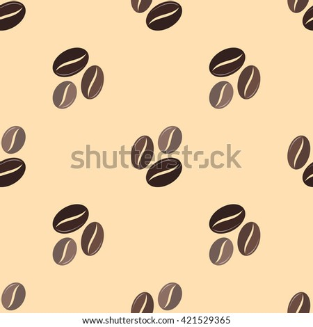 colorful flat design various brown coffee beans deco seamless pattern beige background  - stock photo