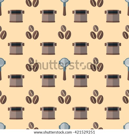 colorful flat design various brown coffee beans portafilter device knock box deco seamless pattern beige background  - stock photo