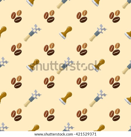 colorful flat design various brown coffee beans tamper barista wrench multitool device deco seamless pattern beige background  - stock photo