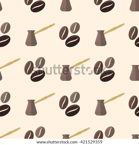 colorful flat design various brown coffee beans turk pot deco seamless pattern beige background  - stock photo