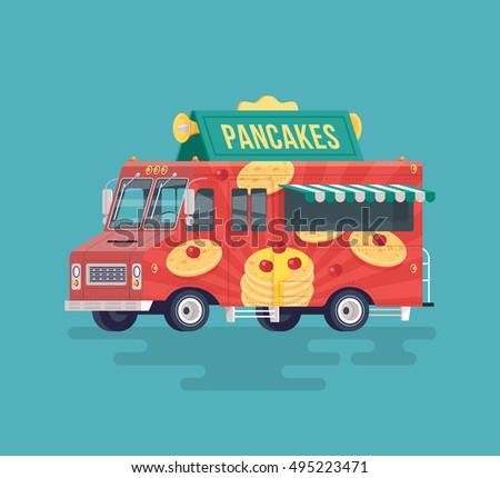 Colorful Flat Pancakes Truck Food Street Cuisine Cartoon Illustration