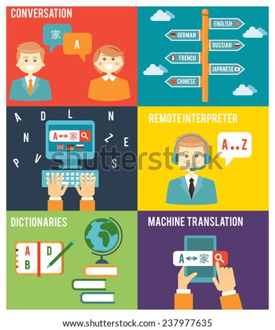 Colorful Flat Style Graphic Design of Learning Foreign Language Concept - stock photo