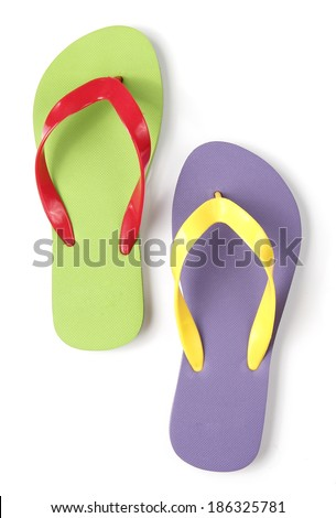 Colorful Flip flop on White background - stock photo