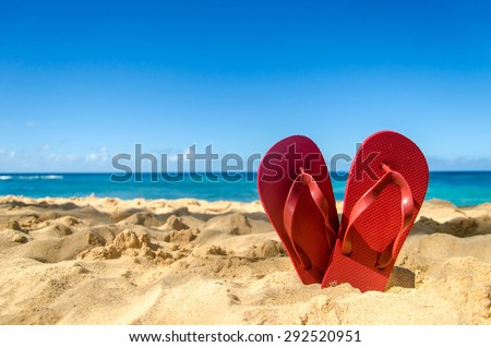 Colorful flip flops on the sandy beach in Hawaii, Kauai - stock photo