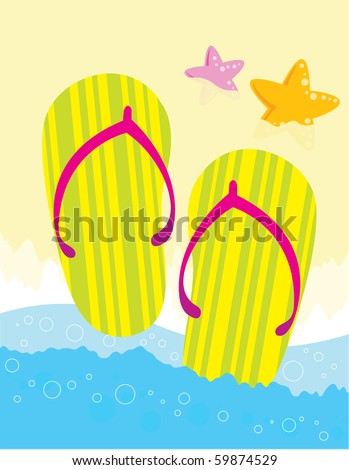 Colorful flipflops on the beach