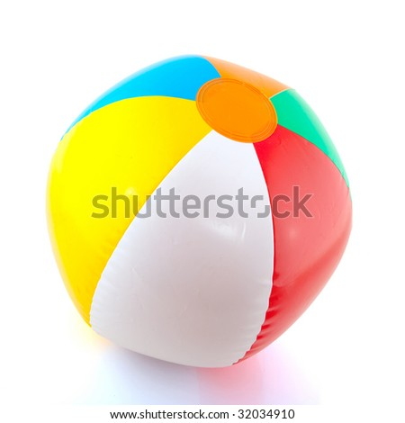 colorful floating beach ball isolated over white - stock photo