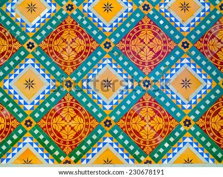 Colorful floor decoration detail in Junagarh Fort, Bikaner, Rajasthan, India - stock photo
