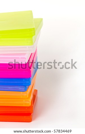 Colorful floppy disk box isolated on white background