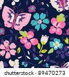 colorful floral and butterfly  seamless pattern background  in jpg - stock photo