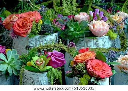 Colorful floral arrangements on display