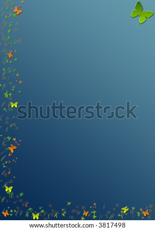 Colorful floral border with butterflies on dark-blue background