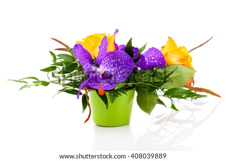 colorful floral bouquet of orchids in vase, on white background