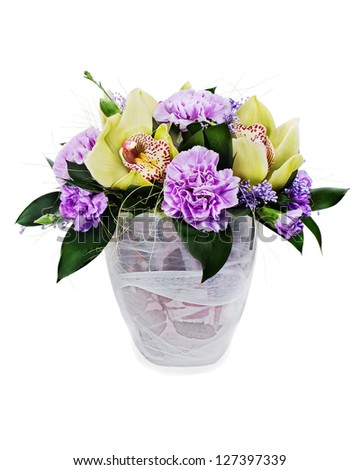 colorful floral bouquet of roses, cloves and orchids arrangement centerpiece in glass vase isolated on white background - stock photo