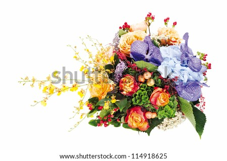 colorful floral bouquet of roses, lilies, freesia, orchids and irises isolated on white background - stock photo