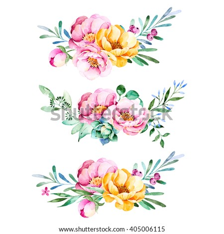 Colorful floral collection with roses,flowers,leaves,succulent plant,branches and more.3 beautiful bouquet for your own design.Lovely Bouquet collection.Perfect for wedding,invitations,template cards - stock photo