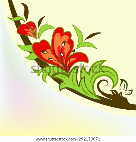 Colorful floral design element isolated on yellow background. - stock photo
