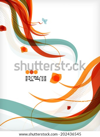 Colorful floral design templates with copy space. Nature backgrounds, eco business presentations brochure or book cover designs - stock photo