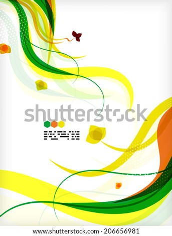 Colorful floral design templates with copy space. Nature backgrounds, eco business presentations brochure or book cover designs