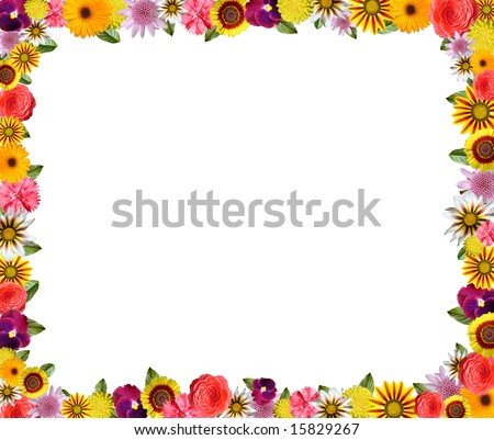 Colorful floral frame with space for copy - stock photo