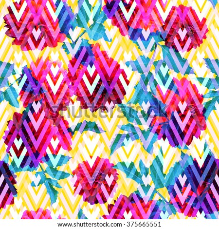 Colorful floral pattern dahlia translucent on a yellow geometric background. Clipart - photo collage, artistic design for clothes and sweatshirt. - stock photo