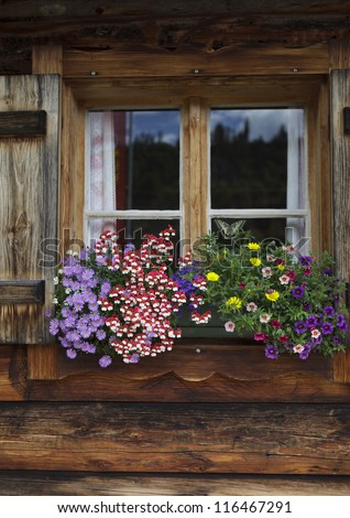 Colorful Flower Arragement on the windows of an Alpine Cabin in Austria - stock photo