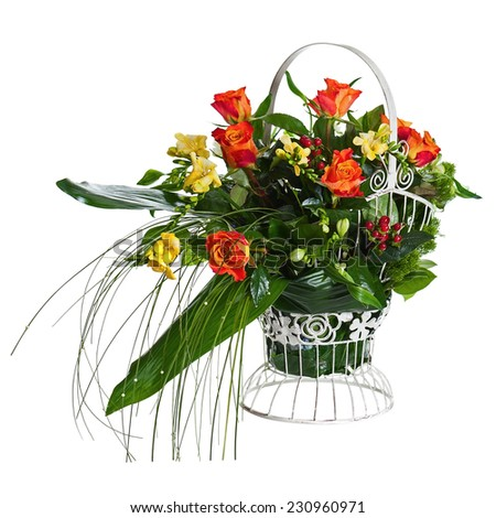 Colorful Flower Bouquet Arrangement Centerpiece in Metal Basket Isolated on White Background. Closeup. - stock photo