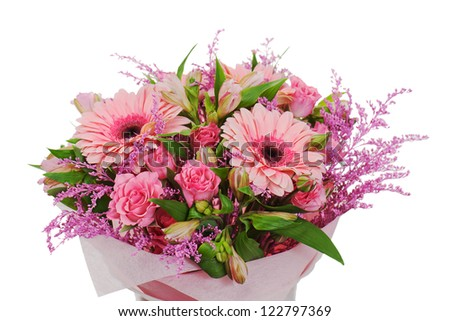 colorful flower bouquet arrangement centerpiece isolated on white background - stock photo