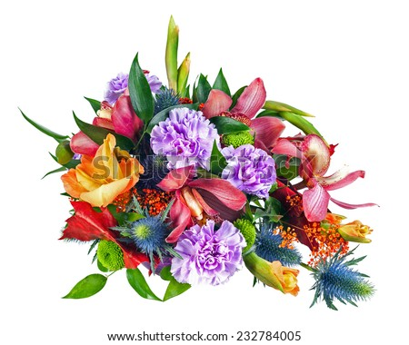 Colorful Flower Bouquet Arrangement Centerpiece Isolated on White Background. Closeup. - stock photo