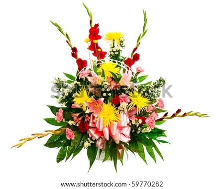 Colorful flower bouquet arrangement in basket isolated on white. - stock photo
