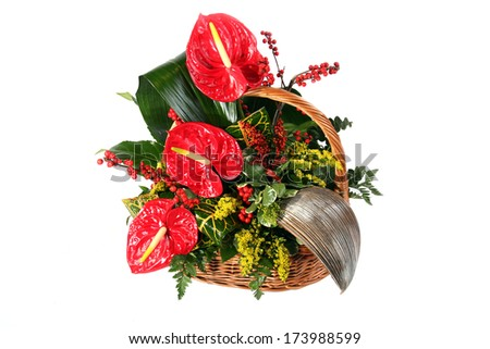 Colorful flower bouquet arrangement isolated on white.  - stock photo