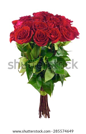 Colorful flower bouquet from red roses. Closeup. - stock photo