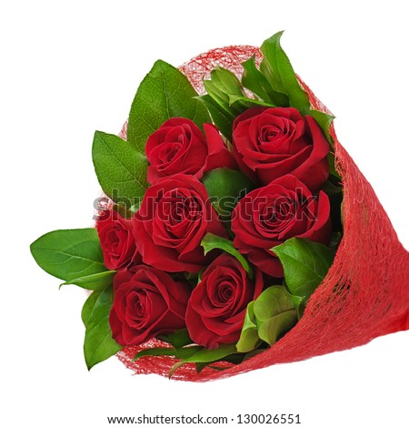colorful flower bouquet from red roses isolated on white background - stock photo