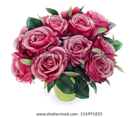 colorful flower bouquet from roses arrangement centerpiece in vase isolated on white background - stock photo
