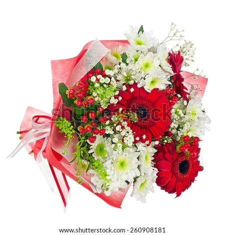 Colorful flower bouquet in red paper isolated on white background. Closeup. - stock photo