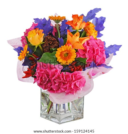 Colorful flower bouquet in vase isolated on white background. Closeup. - stock photo