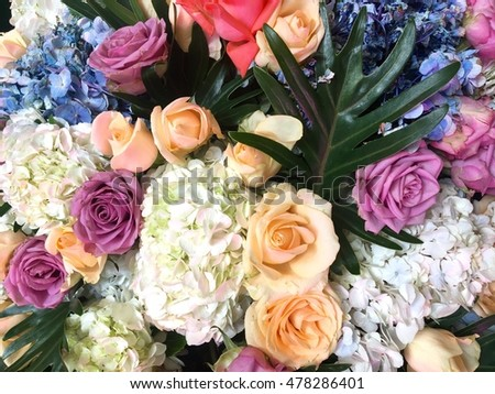 Colorful flower bouquet, nature background.