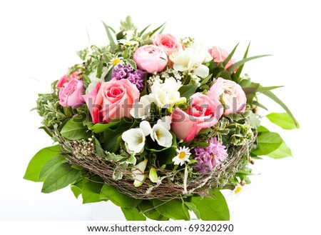 Colorful flower bouquet on white - stock photo
