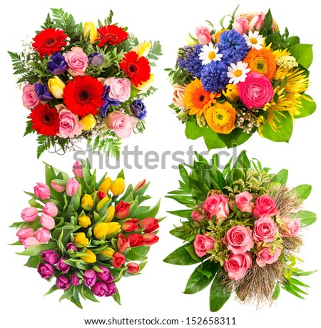 colorful flower bouquets for Birthday, Wedding, Mothers Day, Easter. multicolor festive arrangements - stock photo