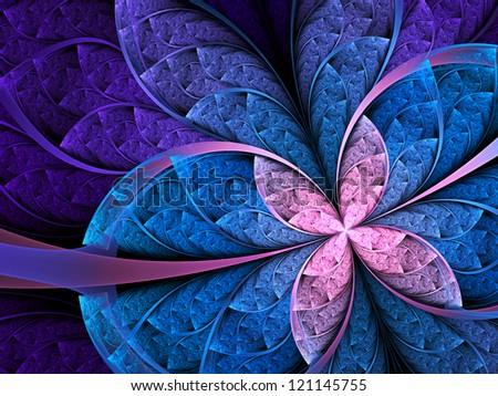 Colorful flower or butterfly, digital fractal art design - stock photo