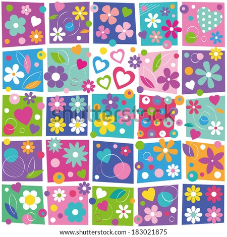 colorful flowers and hearts collection background - stock photo