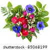 colorful flowers bouquet. fresh tulips and roses - stock photo