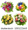 colorful flowers bouquet. roses, tulips, ranunculus, hyacinth, daisy, anemone. birthday, easter, mothers day, valentines day, greetings, congratulations. - stock photo