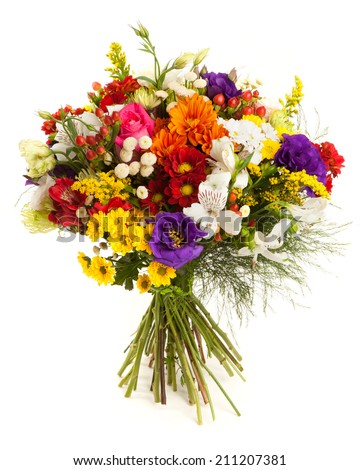 Colorful flowers bunch isolated on white. - stock photo