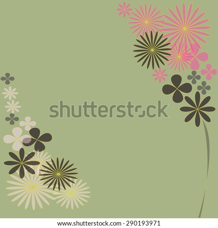 colorful flowers design for invitation card