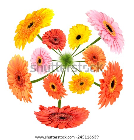 Colorful Flowers growing on little grass planet isolated on white background - stock photo