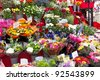 Colorful flowers in a flower shop on a market - stock photo