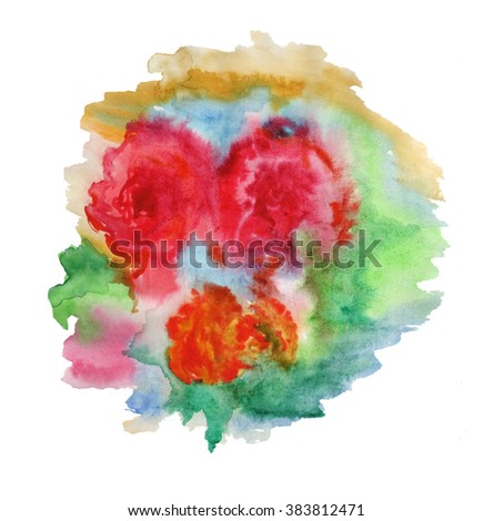 Colorful flowers on white background. Watercolor hand painted illustration. Wet-in-wet watercolor technique. Element for design.