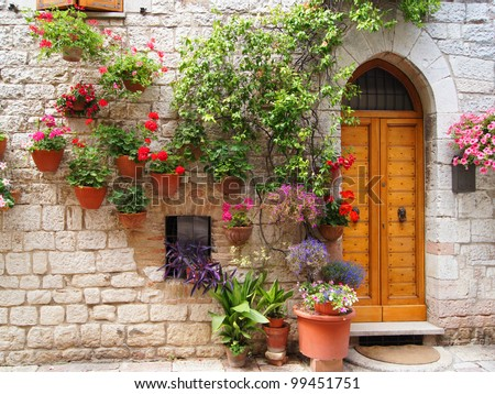 Colorful flowers outside a home in the Italian hill town of Assisi
